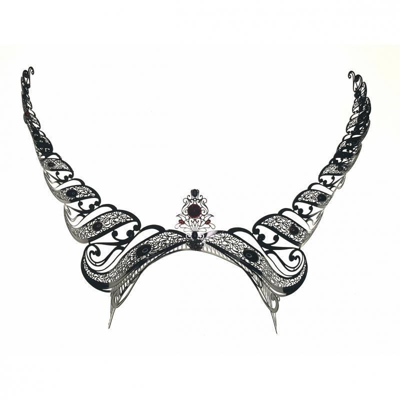 Black burnished horns headband
