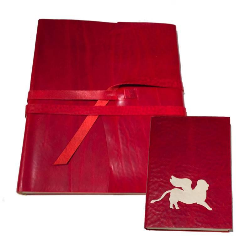 Album e quaderno in pelle intarsiato